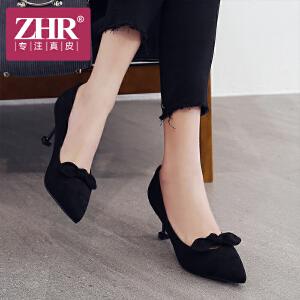 ZHR2018春季新款尖头单鞋浅口猫跟鞋小清新高跟鞋细跟休闲鞋女鞋Y72