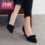 ZHR2018春季新款尖头单鞋浅口猫跟鞋小清新高跟鞋细跟休闲鞋女鞋