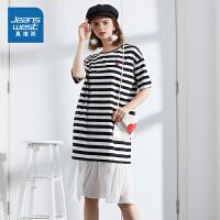 [限时秒杀:75元,仅限8.16-19]真维斯连衣裙女2019新款夏季女士黑白条纹宽松女装T恤裙学生女裙
