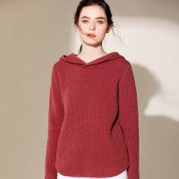 秋冬连帽羊绒衫女加厚打底毛衣长袖宽松保暖针织衫