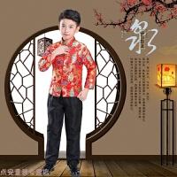 儿童演出服红色中国风喜庆唐装舞蹈元旦表演套装主持人圣诞节礼服