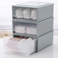 家用内裤袜子文胸收纳整理箱透明内衣收纳盒塑料衣柜抽屉式分格装