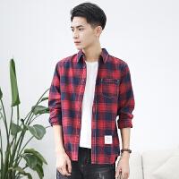春季日系纯棉红色磨毛格子衬衫男bf长袖青年学生红黑休闲衬衣潮流