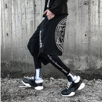 夜店潮流男士休闲哈伦裤个性印花DJ裙裤青少年假两件休闲长裤新品