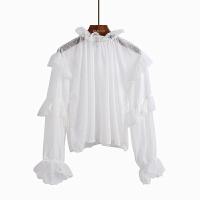 仙气质上衣春季甜美花瓣领蕾丝衫灯笼袖拼接荷叶边波点雪纺衬衫女 均码