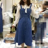 韩国学生青春简约显瘦高腰学院风吊带牛仔连衣裙X