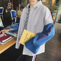 新款@文艺男女店长袖牛仔衬衫男士秋季韩版修身薄款休闲衣服外套