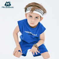 迷你巴拉巴拉男宝宝短袖套装2019夏红色蓝色男童背心短裤两件套装