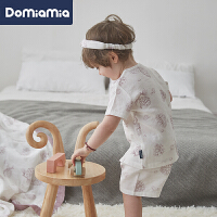 Domiamia婴儿内衣套装短袖儿童竹棉宝宝空调服分体睡衣夏季薄款