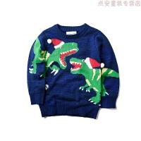 童装秋冬装新款原单男童柔软圣诞提花毛衣儿童宝宝恐龙线衫 图片色