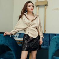 2018春季新款韩版时尚大V领收腰长袖衬衫+高腰亮片半身裙两件套装