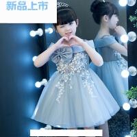 女童晚礼服小主持人走秀钢琴演出服儿童婚纱蓬蓬裙一字肩公主裙女