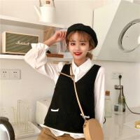 2018春装韩版女装毛衣针织衫马甲套头外套+长袖衬衫两件套ulzzang
