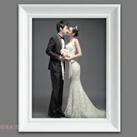 欧式创意白色画框实木相框挂墙 16 20 24 30寸婚纱照影楼相框定做 白色