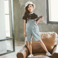 儿童套装 女童薄款半袖T恤阔腿裤韩版夏季时尚休闲中大童儿童短袖酒瓶牛仔背带裤两件套