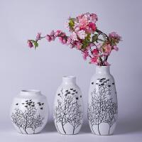 现代新中式摆件陶瓷器手绘写意三件套花瓶插花干花器装饰品