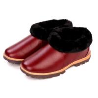 居家冬季室内棉鞋家居男女毛毛拖鞋冬家用防滑老人包跟保暖鞋
