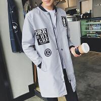 新款夹克男春装2018青年修身衣服中长款上衣韩版潮流男士风衣外套
