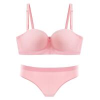 新款无肩带抹胸内衣防滑上托聚拢薄款甜美半杯运动少女文胸套装 粉红色 文胸+内裤
