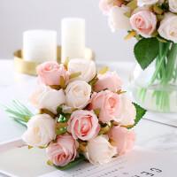清新12头把束仿真玫瑰花假花新娘手捧花束