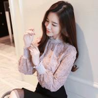 2018新款蕾丝洋气小衫时尚韩版春秋女装上衣服百搭长袖雪纺打底衫