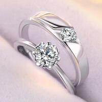 纯银情侣戒指一对刻字男女学生定制对戒原创简约925银戒指礼物