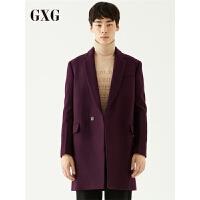GXG大衣男装 冬季男士青年韩版时尚都市紫色长款大衣男