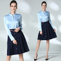 春季新品女装明星同款OL职业休闲长袖衬衫修身显瘦连衣裙潮