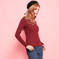 Puella新款韩版修身显瘦竖条纹纯色打底衫V领长袖套头针织衫女