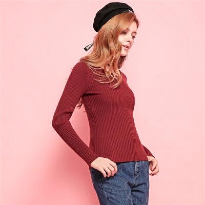 Puella新款韩版修身显瘦竖条纹纯色打底衫V领长袖套头针织衫女【全场5折 到手价99.5元】