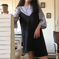套装女夏2018新款韩版圆领中袖衬衫+吊带V领不规则连衣裙两件套潮