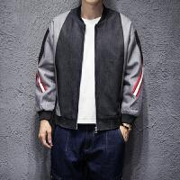 新款秋季日系男士韩版拼接夹克衫潮男撞色加大码宽松棒球领外套男