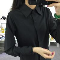 慈姑白衬衫女夏季长袖宽松显瘦韩版百搭学生职业工装大码纯色 黑色 长袖