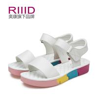 RIIID夏季新款真皮舒适凉鞋 多色拼接 休闲凉鞋