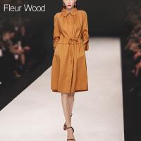 FLEUR WOOD2017秋季新款女装欧美走秀款宽松显瘦收腰长袖连衣裙