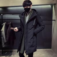 冬季中长款男士修身连帽保暖羽绒服男士加厚外套 黑色