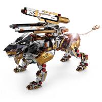 龙感金属拼图3D立体金属模型拼装玩具怒吼狂狮动物狮子