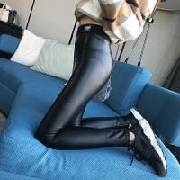 (12)韩版PU皮裤外穿高腰紧身黑色加绒打底裤小脚裤加厚