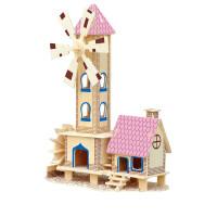 3D木质立体拼图建筑模型积木荷兰风车木制拼装儿童玩具