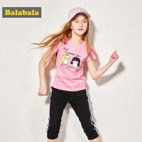 巴拉巴拉童装女童中大童套装夏装2018新款短袖T恤裤子潮流两件套