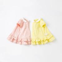 戴维贝拉女童连衣裙2021夏季新款儿童学院风裙宝宝洋气针织裙