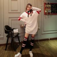 秋季套装女针织衫新款蝴蝶结打底衬衣+宽松V领中长毛衣连衣裙+袜 米白色