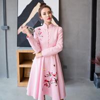 名媛小香风淑女日常改良旗袍连衣裙粉色少女冬长袖a字大摆裙刺绣