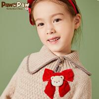 【3件4折 到手价:319元】Pawinpaw卡通小熊童装新款秋女童蝴蝶结不规则翻领套头毛衣萌