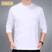 中年男士短袖T恤休闲夏季中老年人薄款圆领色宽松棉长袖