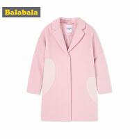 巴拉巴拉韩版女童呢子大衣秋冬2017新款童装儿童加厚保暖毛呢外套