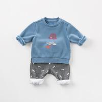 加绒戴维贝拉秋冬装新款男童套装宝宝两件套DBW9451