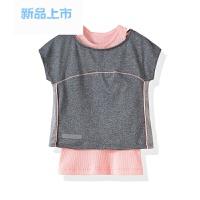 女童夏款套装两件套短袖T恤3/14岁儿童速干运动服灰色慢跑服新品