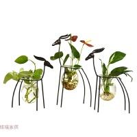 欧式创意铁艺水培植物小鹿摆件简约现代家居装饰品客厅玻璃花瓶 铁艺麋鹿水培- 一家3口