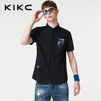 kikc短袖衬衫男2018夏季新款青少年纯棉尖领印花时尚休闲衬衣男士